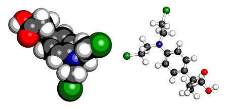 leucemia: Mol�cula de medicamento para la leucemia clorambucil. Nitr�geno agente alquilante mostaza utilizado principalmente para tratar la leucemia linfoc�tica cr�nica (LMC). Los �tomos se representan como esferas con codificaci�n convencional color: hidr�geno (blanco), el carb�n (gris), ox�geno (roja), nitr�geno (azul) Vectores