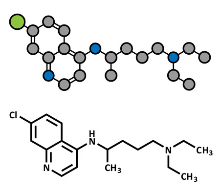 antirheumatic: Chloroquine malaria drug molecule. Used to treat and prevent malaria. Also used for antiviral and immunosuppressant properties. Atoms are represented as spheres with conventional color coding: hydrogen (white), carbon (grey), chlorine (green), nitrogen (b Illustration