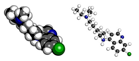 antiviral: Chloroquine malaria drug molecule. Used to treat and prevent malaria. Also used for antiviral and immunosuppressant properties. Atoms are represented as spheres with conventional color coding: hydrogen (white), carbon (grey), chlorine (green), nitrogen (b Illustration