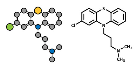 cns: Chlorpromazine (CPZ) antipsychotic drug molecule. Used to treat schizophrenia. Atoms are represented as spheres with conventional color coding: hydrogen (white), carbon (grey), chlorine (green), sulfur (yellow), nitrogen (blue). Illustration