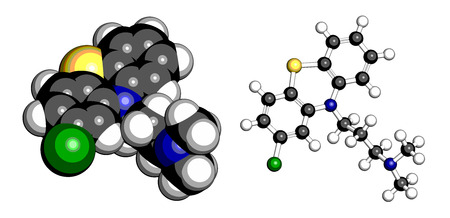 Chlorpromazine (CPZ) antipsychotic drug molecule. Used to treat schizophrenia. Atoms are represented as spheres with conventional color coding: hydrogen (white), carbon (grey), chlorine (green), sulfur (yellow), nitrogen (blue). Stock Vector - 26737997