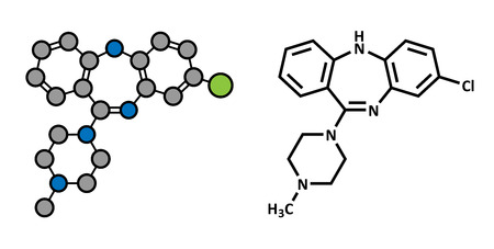 atypical: Clozapine atypical antipsychotic drug molecule. Neuroleptic medicine used in treatment of schizophrenia. Atoms are represented as spheres with conventional color coding: hydrogen (white), carbon (grey), chlorine (green), nitrogen (blue).