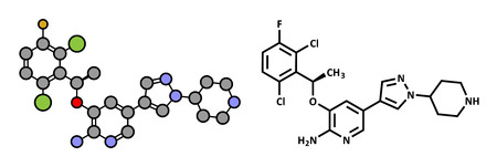 Crizotinib anti-cancer drug molecule. Inhibitor of ALK and ROS1 proteins. Atoms are represented as spheres with conventional color coding: hydrogen (white), carbon (grey), oxygen (red), nitrogen (blue), fluorine (gold), chlorine (green). Illustration