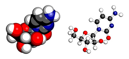 atomic: Cytarabine (cytosine arabinoside, Ara-C) chemotherapy drug molecule. Used in treatment of acute myeloid leukemia (AML), acute lymphocytic leukemia (ALL) and lymphoma. Atoms are represented as spheres with conventional color coding: hydrogen (white), carbo Illustration