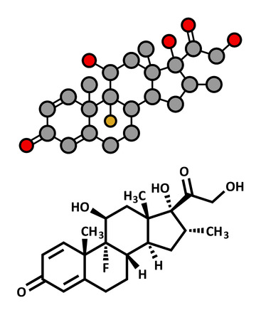 immunosuppressant: Dexamethasone glucocorticoid drug. Steroid drug with anti-inflammatory and immunosuppressant properties. Atoms are represented as spheres with conventional color coding: hydrogen (white), carbon (grey), fluorine (gold), nitrogen (blue). Illustration