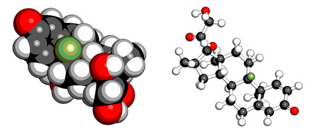 atomic: Dexamethasone glucocorticoid drug. Steroid drug with anti-inflammatory and immunosuppressant properties. Atoms are represented as spheres with conventional color coding: hydrogen (white), carbon (grey), fluorine (light green), nitrogen (blue).