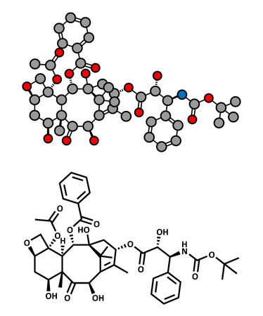 Docetaxel cancer chemotherapy drug molecule. Taxane class drug used in treatment of breast, prostate, lung and ovarian cancer (etc.) Atoms are represented as spheres with conventional color coding: hydrogen (white), carbon (grey), oxygen (red), nitrogen ( Vector