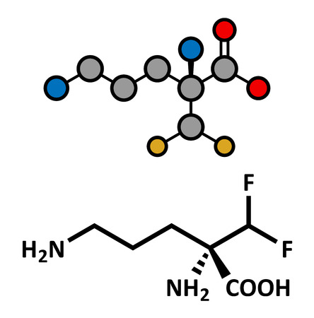 Eflornithine drug molecule. Used to treat facial hirsutism (excessive hair growth) and African trypanosomiasis (sleeping sickness). Atoms are represented as spheres with conventional color coding: hydrogen (white), carbon (grey), oxygen (red), nitrogen (b Illustration