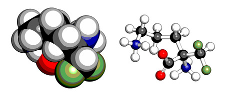sickness: Mol�cula de la droga eflornitina. Se utiliza para tratar el hirsutismo facial (un crecimiento excesivo de pelo) y la tripanosomiasis africana (enfermedad del sue�o). Los �tomos se representan como esferas con codificaci�n convencional de color: hidr�geno (blanco), de carbono (gris), ox�geno (rojo), nitr�geno (b