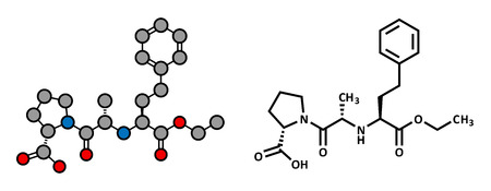 hypertensive: Enalapril high blood pressure drug molecule. Angiotensin Converting Enzyme (ACE) inhibitor used in treatment of hypertension. Atoms are represented as spheres with conventional color coding: hydrogen (white), carbon (grey), oxygen (red), nitrogen (blue).