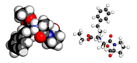 enzyme: Enalapril high blood pressure drug molecule. Angiotensin Converting Enzyme (ACE) inhibitor used in treatment of hypertension. Atoms are represented as spheres with conventional color coding: hydrogen (white), carbon (grey), oxygen (red), nitrogen (blue).