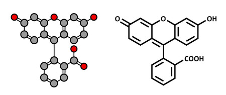 microscopy: Fluorescein fluorescent molecule. Atoms are represented as spheres with conventional color coding: hydrogen (white), carbon (grey), oxygen (red). Illustration