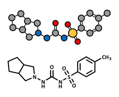 hyperglycemia: Gliclazide diabetes drug molecule. Sulfonylurea class anti-diabetic agent. Atoms are represented as spheres with conventional color coding: hydrogen (white), carbon (grey), oxygen (red), nitrogen (blue), sulfur (yellow).