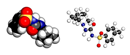 Gliclazide diabetes drug molecule. Sulfonylurea class anti-diabetic agent. Atoms are represented as spheres with conventional color coding: hydrogen (white), carbon (grey), oxygen (red), nitrogen (blue), sulfur (yellow). Vector
