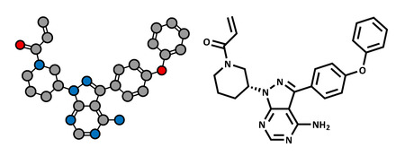 myeloma: Ibrutinib cancer drug molecule. Used in treatment of mantle cell lymphoma and chronic lymphocytic leukemia (CLL). Atoms are represented as spheres with conventional color coding: hydrogen (white), carbon (grey), oxygen (red), nitrogen (blue). Illustration