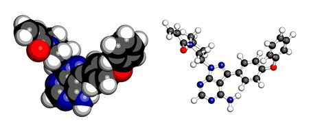 atomic: Ibrutinib cancer drug molecule. Used in treatment of mantle cell lymphoma and chronic lymphocytic leukemia (CLL). Atoms are represented as spheres with conventional color coding: hydrogen (white), carbon (grey), oxygen (red), nitrogen (blue). Illustration