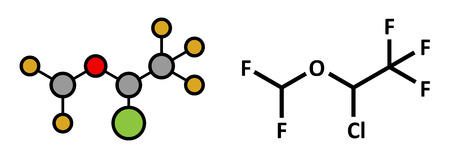 anaesthesia: Isoflurane anesthetic drug molecule. Used for inhalational anesthesia during surgery. Atoms are represented as spheres with conventional color coding: hydrogen (white), carbon (grey), oxygen (red), fluorine (gold), chlorine (green).