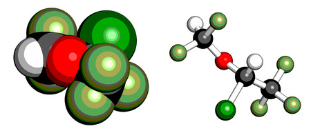 anaesthesia: Isoflurane anesthetic drug molecule. Used for inhalational anesthesia during surgery. Atoms are represented as spheres with conventional color coding: hydrogen (white), carbon (grey), oxygen (red), fluorine (light green), chlorine (green).