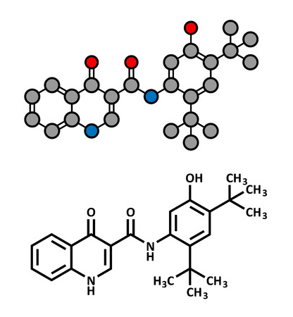 fibrosis: Ivacaftor cystic fibrosis drug molecule. Atoms are represented as spheres with conventional color coding: hydrogen (white), carbon (grey), oxygen (red), nitrogen (blue).