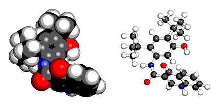 Ivacaftor cystic fibrosis drug molecule. Atoms are represented as spheres with conventional color coding: hydrogen (white), carbon (grey), oxygen (red), nitrogen (blue).