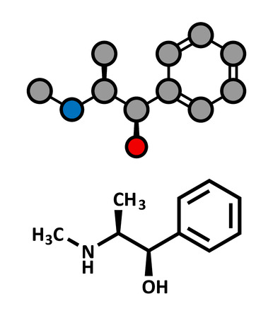 Ephedrine stimulant drug molecule. Alkaloid found in Ephedra plants. Used as stimulant, appetite suppressant, decongestant, etc. Atoms are represented as spheres with conventional color coding: hydrogen (white), carbon (grey), oxygen (red), nitrogen (blue