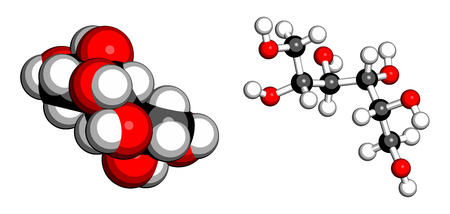 sweetener: Mannitol (mannite, manna sugar) molecule. Used as sweetener, drug, etc. Atoms are represented as spheres with conventional color coding: hydrogen (white), carbon (grey), oxygen (red). Illustration
