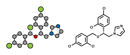 thrush: Miconazole antifungal drug molecule. Imidazole class antimycotic, used in treatment of athletes foot, ringworm, yeast infections, etc. Atoms are represented as spheres with conventional color coding: hydrogen (white), carbon (grey), oxygen (red), nitroge Illustration