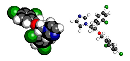 Miconazole antifungal drug molecule. Imidazole class antimycotic, used in treatment of athletes foot, ringworm, yeast infections, etc. Atoms are represented as spheres with conventional color coding: hydrogen (white), carbon (grey), oxygen (red), nitroge Illustration