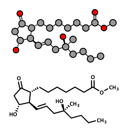 ulceration: Misoprostol abortion inducing drug molecule. Prostaglandin E1 (PGE1) analogue also used to treat missed miscarriage, induce labor, etc. Atoms are represented as spheres with conventional color coding: hydrogen (white), carbon (grey), oxygen (red). Illustration