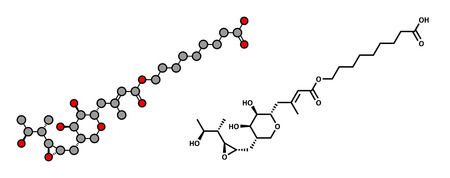 bactericidal: Mupirocin (pseudomonic acid) antibiotic drug molecule. Used topically against gram-positive bacteria. Atoms are represented as spheres with conventional color coding: hydrogen (white), carbon (grey), oxygen (red). Illustration
