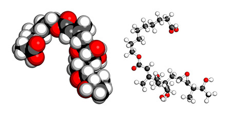 bacteriostatic: Mupirocin (pseudomonic acid) antibiotic drug molecule. Used topically against gram-positive bacteria. Atoms are represented as spheres with conventional color coding: hydrogen (white), carbon (grey), oxygen (red). Illustration