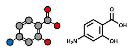 bowel: Para-aminosalicylic molecola del farmaco acido. Usato nel trattamento della tubercolosi e malattie infiammatorie intestinali (colite ulcerosa, morbo di Crohn). Gli atomi sono rappresentati come sfere con codifica a colori convenzionale: idrogeno (bianco), carbonio (grigio), ossigeno (rosso),