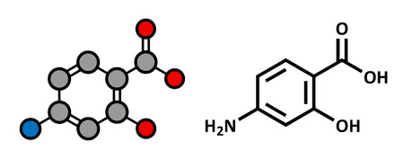 Para-aminosalicylic acid drug molecule. Used in treatment of tuberculosis and inflammatory bowel disease (ulcerative colitis, Crohns disease). Atoms are represented as spheres with conventional color coding: hydrogen (white), carbon (grey), oxygen (red), Illustration
