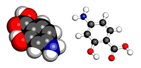 inflammatory bowel disease: Para-aminosalicylic acid drug molecule. Used in treatment of tuberculosis and inflammatory bowel disease (ulcerative colitis, Crohns disease). Atoms are represented as spheres with conventional color coding: hydrogen (white), carbon (grey), oxygen (red), Illustration