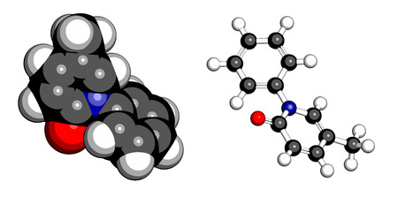 fibrosis: Pirfenidone idiopathic pulmonary fibrosis (IPF) drug molecule. IPF is a rare lung disease. Atoms are represented as spheres with conventional color coding: hydrogen (white), carbon (grey), oxygen (red), nitrogen (blue).