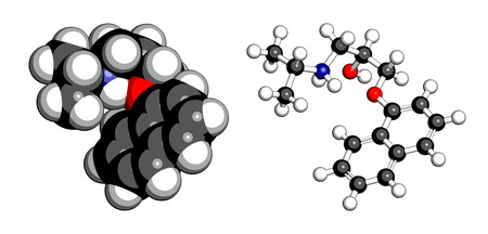 angina: Propanolol high blood pressure drug molecule. Used to treat hypertension, anxiety and panic disorders. Atoms are represented as spheres with conventional color coding: hydrogen (white), carbon (grey), oxygen (red), nitrogen (blue). Illustration