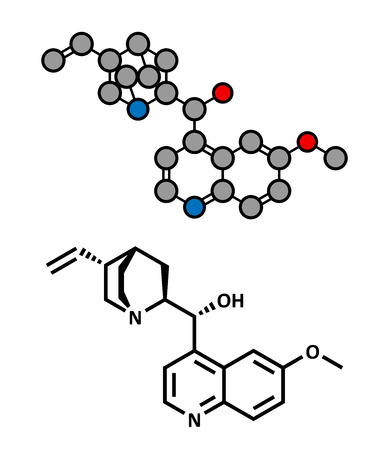 plasmodium: Quinine malaria drug molecule. Isolated from cinchona tree bark. Atoms are represented as spheres with conventional color coding: hydrogen (white), carbon (grey), oxygen (red), nitrogen (blue).