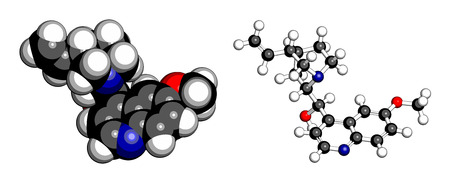 atomic: Quinine malaria drug molecule. Isolated from cinchona tree bark. Atoms are represented as spheres with conventional color coding: hydrogen (white), carbon (grey), oxygen (red), nitrogen (blue).