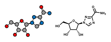guanosine: Ribavirin antiviral drug molecule. Used in treatment of hepatitis C virus infections and of viral hemorrhagic fevers. Atoms are represented as spheres with conventional color coding: hydrogen (white), carbon (grey), oxygen (red), nitrogen (blue). Illustration