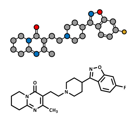 histamine: Risperidone antipsychotic drug molecule. Used in treatment of schizophrenia, bipolar disorder and related conditions. Atoms are represented as spheres with conventional color coding: hydrogen (white), carbon (grey), oxygen (red), nitrogen (blue), fluorine