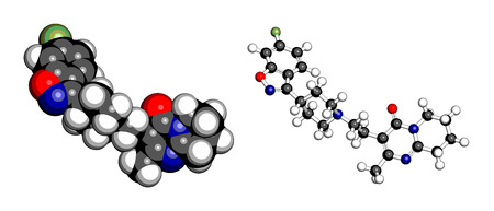 relapse: Risperidone antipsychotic drug molecule. Used in treatment of schizophrenia, bipolar disorder and related conditions. Atoms are represented as spheres with conventional color coding: hydrogen (white), carbon (grey), oxygen (red), nitrogen (blue), fluorine