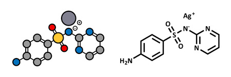 Silver sulfadiazine topical antibacterial drug molecule. Used in treatment of wounds and burns. Atoms are represented as spheres with conventional color coding: hydrogen (white), carbon (grey), oxygen (red), nitrogen (blue), sulfur (yellow), silver (blue- Vector