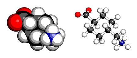 eg: Tranexamic acid antifibrinolytic drug molecule. Prevents excessive bleeding, e.g. during surgery. Atoms are represented as spheres with conventional color coding: hydrogen (white), carbon (grey), oxygen (red), nitrogen (blue).
