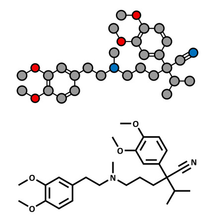 angina: Verapamil calcium channel blocker drug. Mainly used in treatment of hypertension (high blood pressure) and cardiac arrhythmia (irregular heartbeat). Atoms are represented as spheres with conventional color coding: hydrogen (white), carbon (grey), oxygen ( Illustration