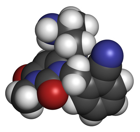 Alogliptin diabetes drug molecule. Belongs to dipeptidyl peptidase 4 (DPP-4) or gliptin class of antidiabetic medicines. Atoms are represented as spheres with conventional color coding: hydrogen (white), carbon (grey), oxygen (red), nitrogen (blue). photo