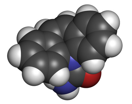 neuralgia: Carbamazepine anticonvulsant and mood stabilizing drug molecule. Used to treat epilepsy (convulsions), bipolar disorder and a number of other diseases. Atoms are represented as spheres with conventional color coding: hydrogen (white), carbon (grey), oxyge