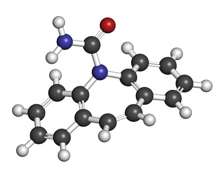 convulsions: Carbamazepine anticonvulsant and mood stabilizing drug molecule. Used to treat epilepsy (convulsions), bipolar disorder and a number of other diseases. Atoms are represented as spheres with conventional color coding: hydrogen (white), carbon (grey), oxyge
