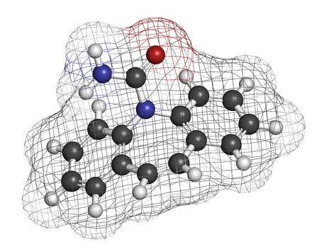 convulsion: Carbamazepine anticonvulsant and mood stabilizing drug molecule. Used to treat epilepsy (convulsions), bipolar disorder and a number of other diseases. Atoms are represented as spheres with conventional color coding: hydrogen (white), carbon (grey), oxyge