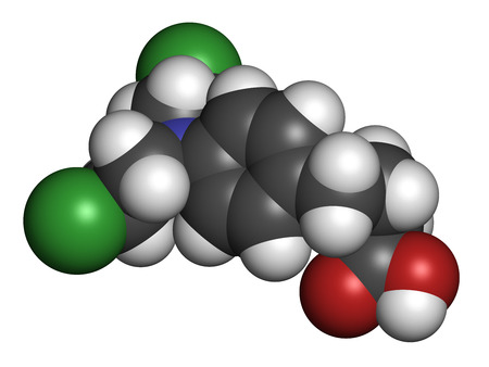 leukemia: Chlorambucil leukemia drug molecule. Nitrogen mustard alkylating agent mainly used to treat chronic lymphocytic leukemia (CML). Atoms are represented as spheres with conventional color coding: hydrogen (white), carbon (grey), oxygen (red), nitrogen (blue)