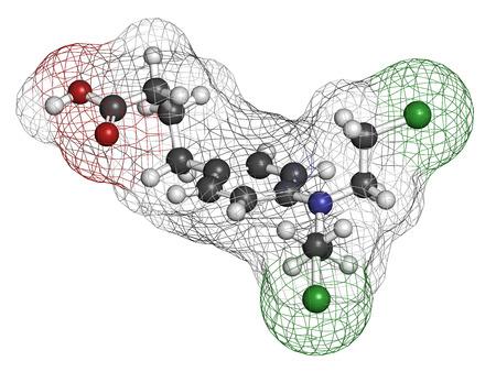 leucemia: El clorambucil leucemia mol�cula de f�rmaco. Nitr�geno agente alquilante mostaza utiliza principalmente para tratar la leucemia linfoc�tica cr�nica (LMC). Los �tomos se representan como esferas con codificaci�n de colores convencionales: hidr�geno (blanco), carbono (gris), ox�geno (roja), nitr�geno (azul)